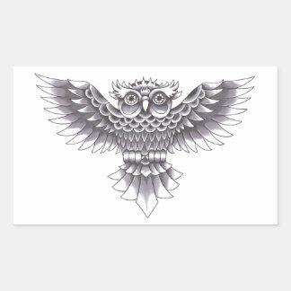 Diseño del tatuaje del búho de la escuela vieja pegatina rectangular