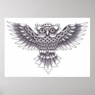 Diseño del tatuaje del búho de la escuela vieja póster