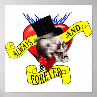 Diseño del tatuaje del cráneo y del corazón de póster