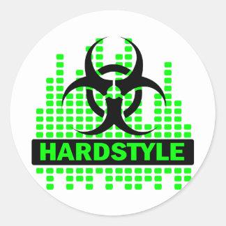 Diseño del tempo de Hardstyle Pegatina Redonda