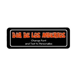 Diseño del texto de DIA DE LOS MUERTOS Etiqueta De Remitente