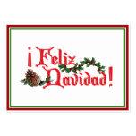 Diseño del texto de Feliz Navidad con los conos de Tarjetas De Visita
