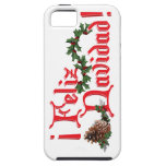 Diseño del texto de Feliz Navidad con los conos iPhone 5 Carcasas