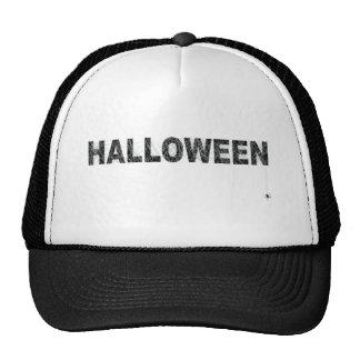 Diseño del texto de Halloween con la red de la ara Gorros