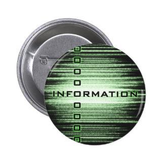 Diseño del texto de información pin redondo de 2 pulgadas