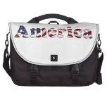 Diseño del texto de la bandera de América Bolsa De Ordenador