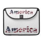 Diseño del texto de la bandera de América Funda Para Macbooks