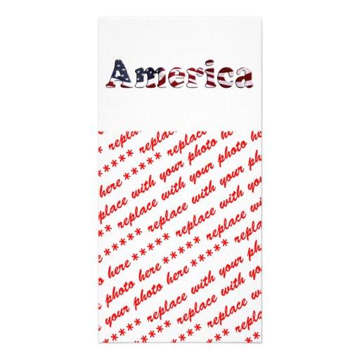 Diseño del texto de la bandera de América Tarjetas Fotográficas
