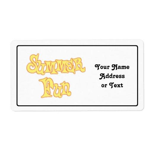 Diseño del texto de la diversión del verano etiquetas de envío