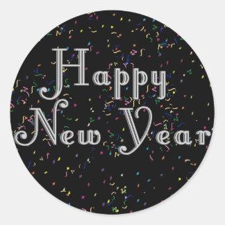 Diseño del texto de la Feliz Año Nuevo Pegatina Redonda