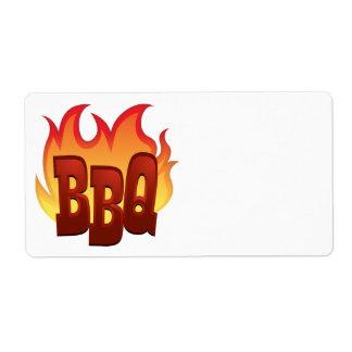 diseño del texto de la llama del Bbq Etiqueta De Envío