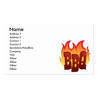 diseño del texto de la llama del Bbq Tarjetas De Visita