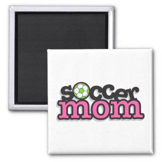 diseño del texto de la mamá del fútbol imán cuadrado
