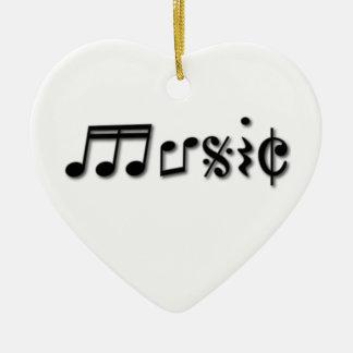 Diseño del texto de la música adorno de cerámica en forma de corazón