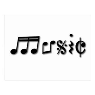 Diseño del texto de la música postales