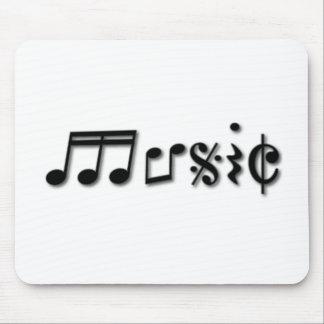Diseño del texto de la música tapetes de ratón