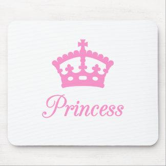 Diseño del texto de la princesa con la corona rosa alfombrilla de ratón