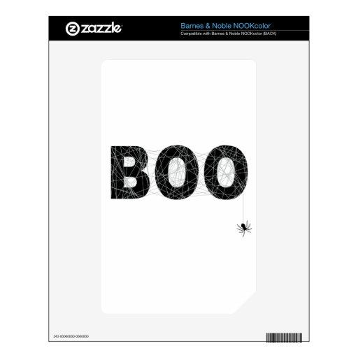 Diseño del texto del abucheo para Halloween Calcomanía Para NOOK Color