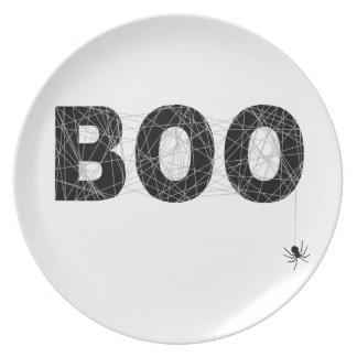 Diseño del texto del abucheo para Halloween Plato