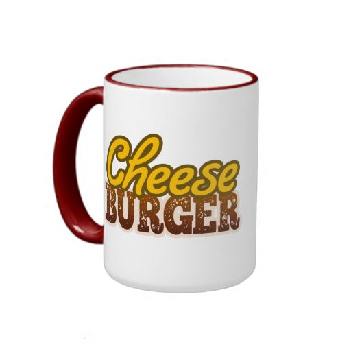 Diseño del texto del cheeseburger tazas