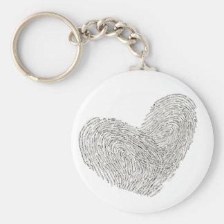 Diseño del texto del corazón en sello del llavero redondo tipo pin