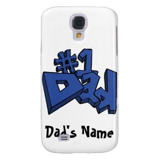 Diseño del texto del papá #1 en azul funda para galaxy s4