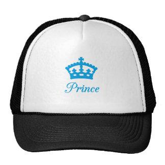 Diseño del texto del príncipe con la corona azul gorros
