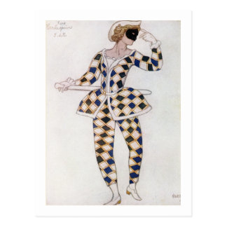 Diseño del traje para el Harlequin, de la bella Postal