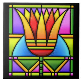 diseño del tulipán/del loto del vitral azulejo cuadrado grande