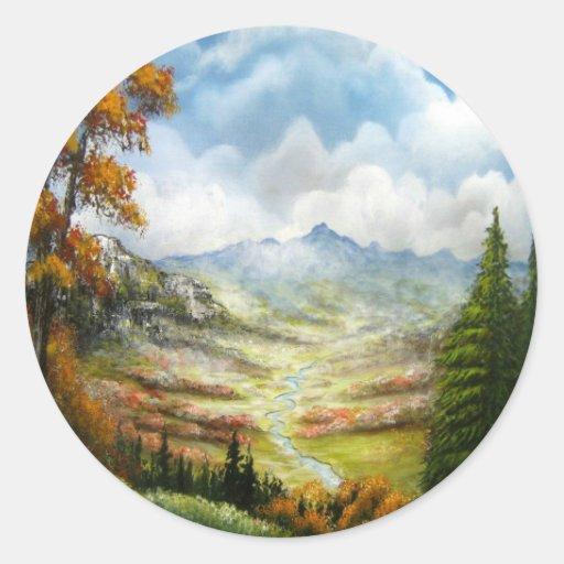 Diseño del valle de la caída etiquetas redondas