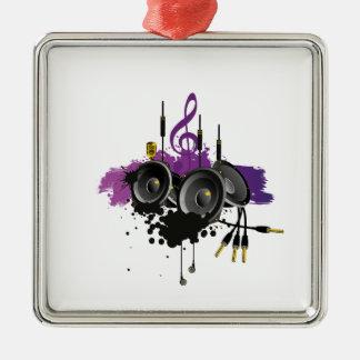 Diseño del vector de la música adorno cuadrado plateado