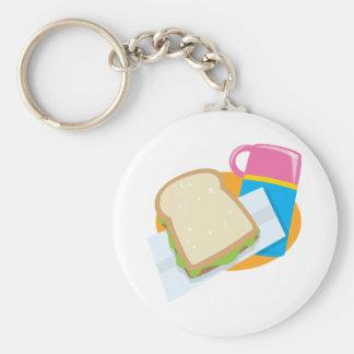 diseño del vector del almuerzo del bocadillo y del llavero redondo tipo pin