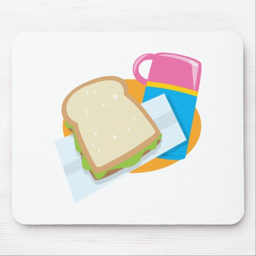diseño del vector del almuerzo del bocadillo y del tapetes de raton