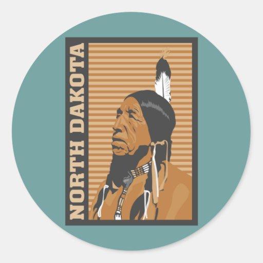 Diseño del viaje de Dakota del Norte Pegatina Redonda