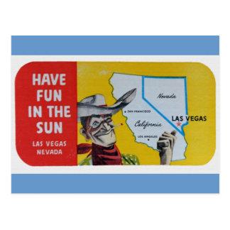 Diseño del viaje del vintage de Las Vegas Navada Postal