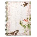 Diseño del Victorian del pájaro y de la mariposa Libro De Apuntes Con Espiral