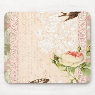 Diseño del Victorian del pájaro y de la mariposa Alfombrilla De Ratón