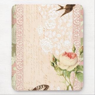 Diseño del Victorian del pájaro y de la mariposa Alfombrillas De Ratones