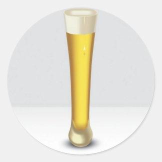 Diseño del vidrio de cerveza pegatina redonda