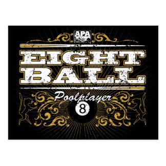 Diseño del vintage de 8 bolas postal
