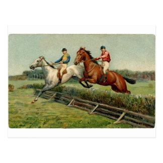 diseño del vintage de la carrera de caballos postal