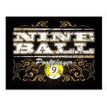 Diseño del vintage de nueve bolas tarjeta postal