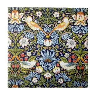 Diseño del vintage de William Morris - ladrón de l Azulejo Cuadrado Pequeño
