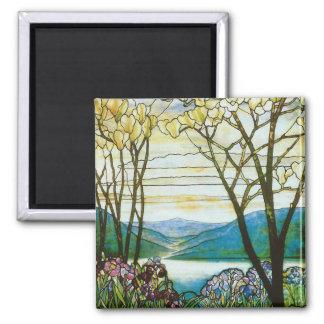 Diseño del vitral de la magnolia y del iris imán cuadrado