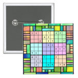 Diseño del vitral de Sudoku Pin Cuadrada 5 Cm