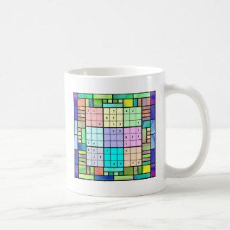 Diseño del vitral de Sudoku Taza De Café