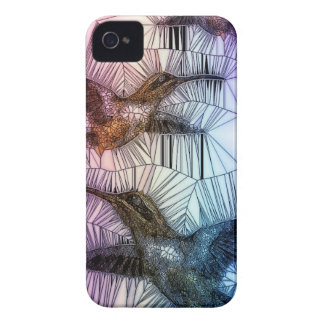 Diseño del vitral del pájaro del tarareo iPhone 4 funda