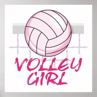 diseño del voleibol del chica del voleo del valle póster