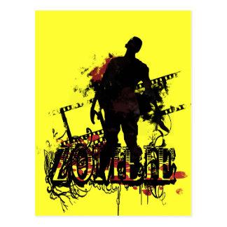 Diseño del zombi en negro y rojo tarjeta postal