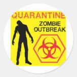 Diseño del zombi etiquetas redondas